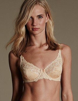 Floral Jacquard Lace Underwired Full Cup Bra A-DD, NATURAL, catlanding