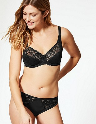 Floral Jacquard Lace Underwired Full Cup Bra A-DD, BLACK, catlanding