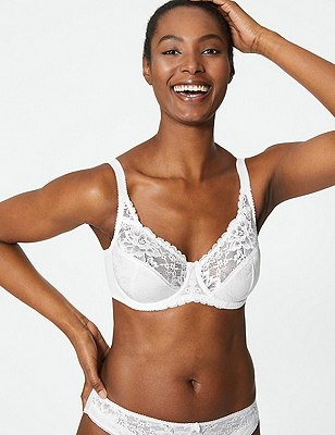 Floral Jacquard Lace Underwired Full Cup Bra A-DD, WHITE, catlanding