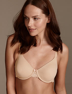 Lace Wing Smoothing Underwired Non-Padded Bra B-E, NATURAL, catlanding