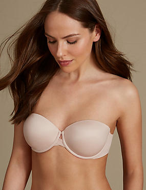 Padded Push-Up Strapless Bra A-E, ALMOND, catlanding
