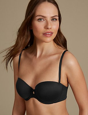 Padded Push-Up Strapless Bra A-E, BLACK, catlanding