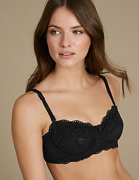 Vintage Lace Non-Padded Strapless Bra A-E, BLACK, catlanding