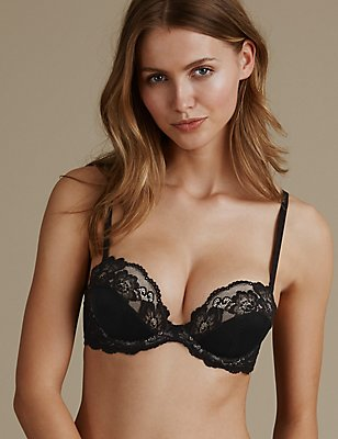 Glamour Low Front Push-Up Strapless Bra A-E, BLACK MIX, catlanding