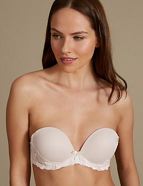 Floral Embroidered Padded Push-up Strapless Bra A-E, ALMOND, catlanding