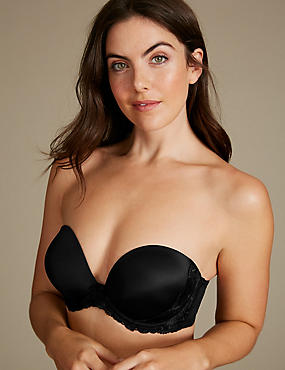 Floral Embroidered Padded Push-up Strapless Bra A-E, BLACK, catlanding