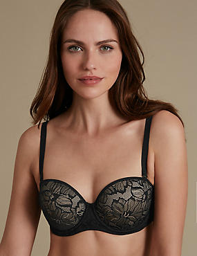 Youthful Lift™ Lace Padded Strapless Bra A-E, BLACK MIX, catlanding