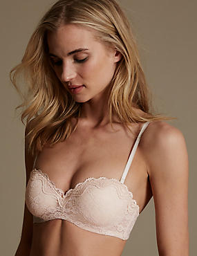 All Over Lace Bandeau Strapless Bra A-E, ALMOND, catlanding