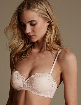 All Over Floral Lace Bandeau Strapless Bra A-D, ALMOND, catlanding