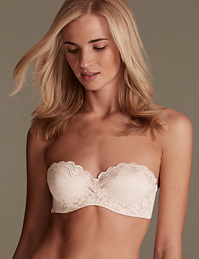 All Over Lace Bandeau Strapless Bra A-E, FAWN, catlanding