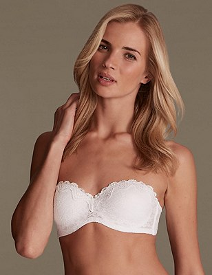 All Over Floral Lace Bandeau Strapless Bra A-D, WHITE, catlanding