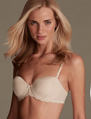 Lace Sling Padded Strapless Bra A-E, NATURAL, catlanding