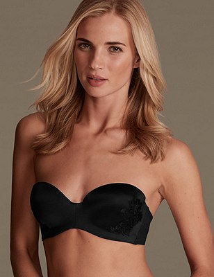 Floral Lace Placement Embroidered Strapless Bandeau Bra A-D, BLACK, catlanding