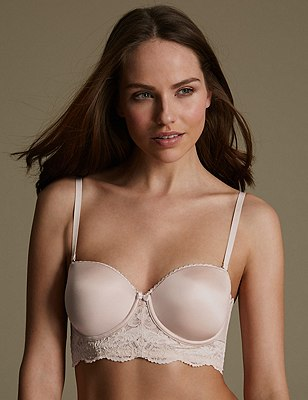 Perfect Fit Lace Padded Strapless Longline Bra A-DD, ALMOND MIX, catlanding