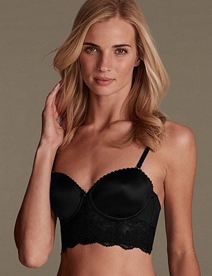 Perfect Fit Lace Padded Strapless Longline Bra A-DD, BLACK, catlanding