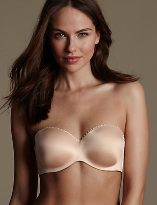 Perfect Fit Memory Foam Padded Strapless Bra A-E, ALMOND, catlanding