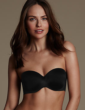 Perfect Fit Memory Foam Padded Strapless Bra A-E, BLACK, catlanding