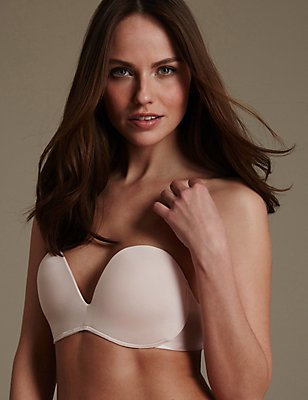 Superhold Non-Wired Padded Strapless Bra A-E, ALMOND, catlanding