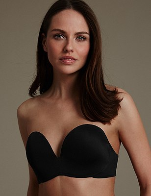 Superhold Non-Wired Padded Strapless Bra A-E, BLACK, catlanding