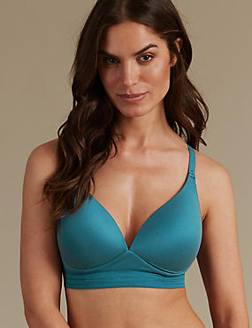 Longline Cross Over Padded Plunge Bra A-E, , catlanding