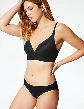 Longline Cross Over Padded Plunge Bra A-E, BLACK, catlanding