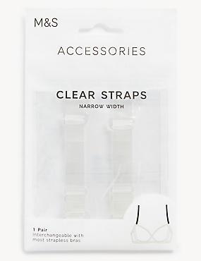 Detachable Clear Bra Straps - Standard Width, CLEAR, catlanding