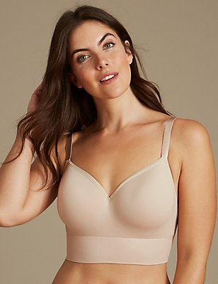 Modal Blend Non-Wired Longline Full Cup T-Shirt Bra A-E, ALMOND, catlanding