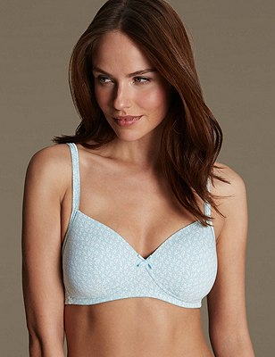 2 Pack Cotton Rich Non-Wired Padded T-Shirt A-D Bras, PETROL MIX, catlanding