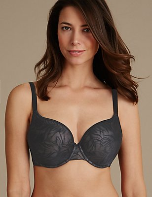 Feather Mesh Spacer Padded Plunge Bra DD-G, BLACK MIX, catlanding