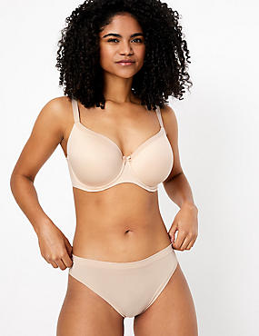 Sumptuously Soft Underwired Striped Full Cup T-Shirt Bra DD-G, ALMOND, catlanding