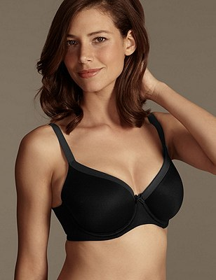 Sumptuously Soft Underwired Padded Full Cup T-Shirt Bra DD-G, BLACK, catlanding