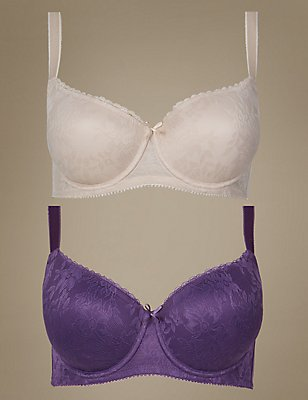 2 Pack Padded All Over Lace Balcony Bra DD-G, PURPLE MIX, catlanding