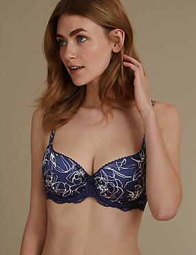 Perfect Fit Floral Padded Underwired Balcony Bra AA-E, NAVY MIX, catlanding