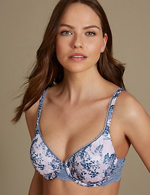 Perfect Fit Memory Foam Padded Abstract Print Full Cup Bra A-E, SMOKEY BLUE, catlanding