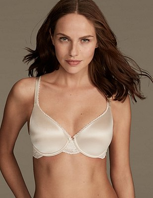 Perfect Fit Memory Foam Padded Full Cup T-Shirt Bra A-E, ALMOND, catlanding