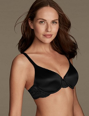 Perfect Fit Memory Foam Padded Full Cup T-Shirt Bra A-E, BLACK, catlanding