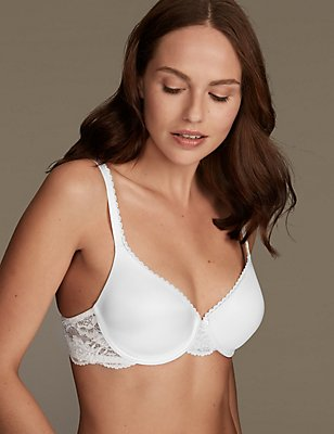 Perfect Fit Memory Foam Padded Full Cup T-Shirt Bra A-E, WHITE, catlanding