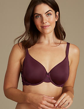 Perfect Fit Memory Foam Padded Full Cup T-Shirt Bra A-E, BLACKCURRANT, catlanding
