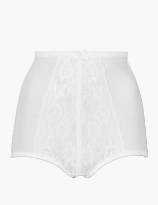 Firm Control Traditional Floral Lace Knickers, WHITE, catlanding