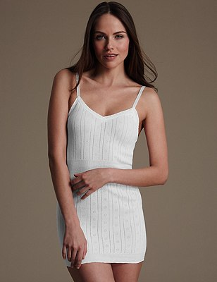 Pure Cotton V-Neck Pointelle Vest, WHITE, catlanding
