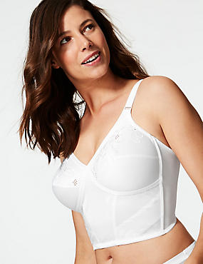 Firm Control Floral Embroidered Traditional Longline Bra B-DD, WHITE, catlanding