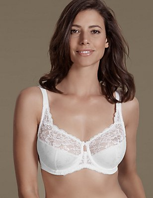 Floral Jacquard Lace Underwired Full Cup Bra, WHITE, catlanding