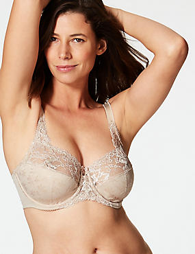 Floral Jacquard Lace Underwired Full Cup Bra A-H, ALMOND, catlanding