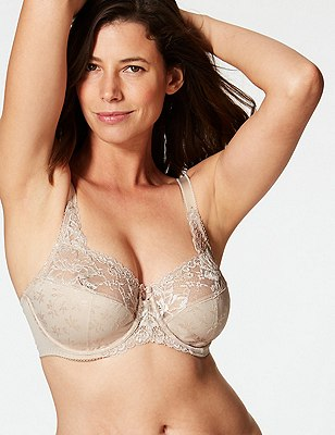 Floral Jacquard Underwired Full Cup Bra DD-H, ALMOND, catlanding