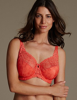 Floral Jacquard Underwired Full Cup Bra DD-H, , catlanding