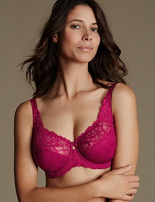 Floral Jacquard Underwired Full Cup Bra DD-H, FUCHSIA, catlanding