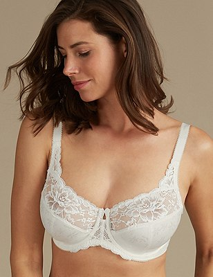 Floral Jacquard Underwired Full Cup Bra DD-H, CREAM, catlanding