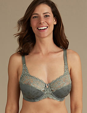 Floral Jacquard Lace Underwired Full Cup Bra A-H, KHAKI, catlanding