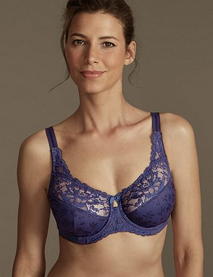 Floral Jacquard Underwired Full Cup Bra DD-H, NIGHTSHADE, catlanding