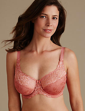 Floral Jacquard Lace Underwired Full Cup Bra A-H, BURNT SIENNA, catlanding